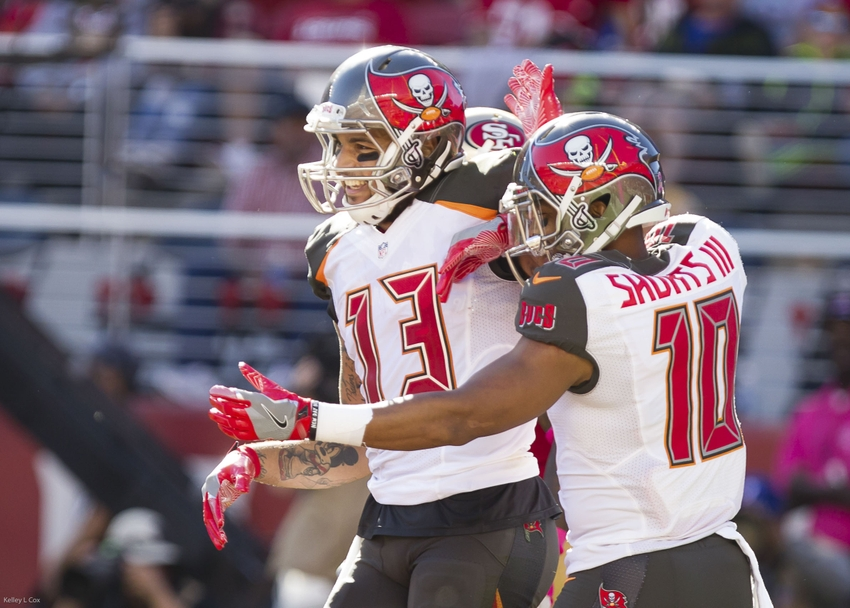 fb2102967 Oct 23, 2016; Santa Clara, CA, USA; Tampa Bay Buccaneers wide receiver Mike  Evans (13) celebrates with teammates after a touchdown against the San  Francisco ...